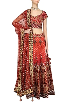 Burnt Orange and Maroon Embroidered Bridal Lehenga Set by Ridhi Arora