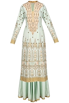 Mint Green and Yellow Embroidered Sharara Set by Ridhi Arora