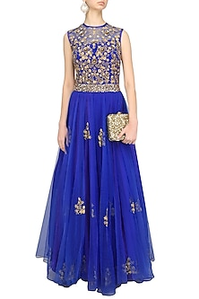 Indigo Blue Embroidered Floor Length Gown by Ridhi Arora