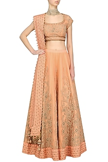 Peach Threadwork Lehenga Set by Ridhi Arora