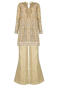 Beige A Line Jacket with Gold Bell Bottom Pants by Ridhi Arora