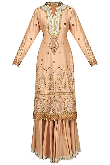 Peach and Mint Embroidered Sharara Set by Ridhi Arora