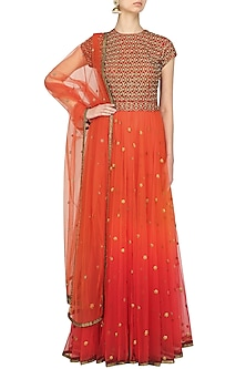Burnt Orange and Maroon Embroidered Gown by Ridhi Arora