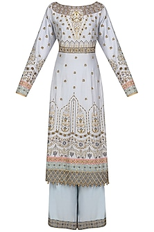 Pale Blue Embroidered Sharara Set by Ridhi Arora