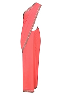 Neon Coral and Black Ombre Shaded Saree and Embroidered Blouse Set by Radhika Airi