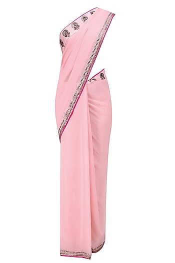 Light Pink Embroidered Motifs Saree and Blouse Set by Radhika Airi