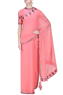 Coral Pink Embroidered Motifs Saree and Blouse Set by Radhika Airi