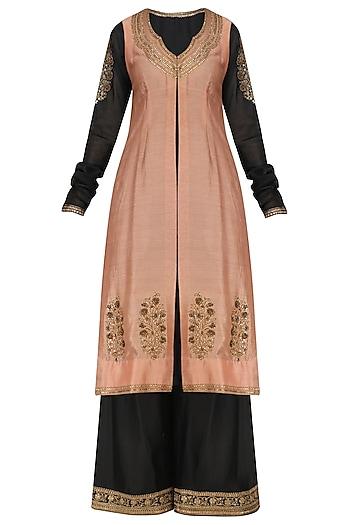 Black Kurta, Jacket and Pallazo Set by Radhika Airi