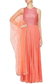 Pink and Coral Embroidered Anarkali Set by Radhika Airi