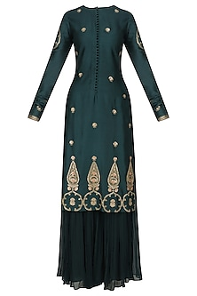 Bottle Green Kurta and Sharara Set by Radhika Airi