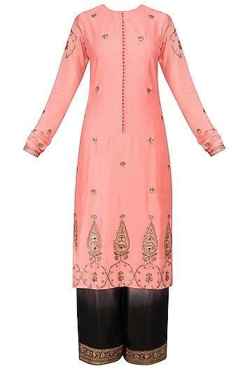 Pastel Pink Embroidered Kurta with Pants by Radhika Airi