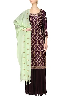 Wine Embroidered Kurta and Sharara Set by Radhika Airi