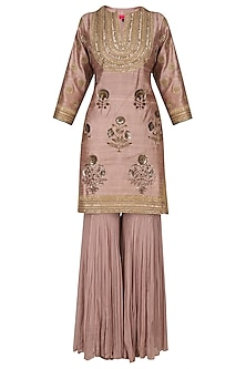 Ash Pink Short Kurta and Gharara Set by Radhika Airi