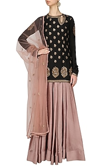 Black Short Kurta and Pink Skirt Set by Radhika Airi