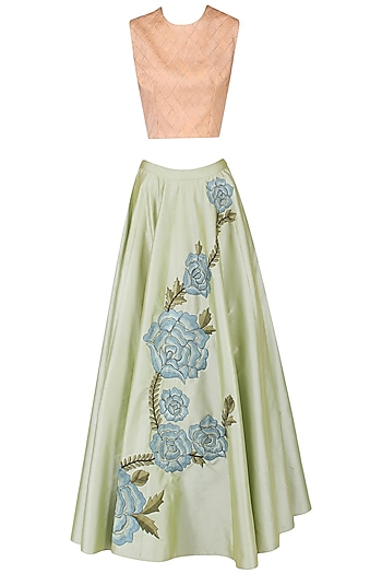 Peach checkered crop top with rose embroidered skirt by Ridhi Arora