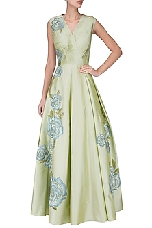 Olive green pleated embroidered gown  by Ridhi Arora