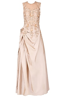 Gold floral embroidered drape gown by Ridhi Arora