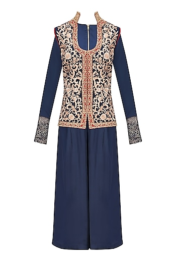 Navy Crop Top and Palazzo Pants with Embroidered Jacket by Ridhi Arora