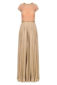 Gold and Peach Base Floral Sequins Work Gown by Ridhi Arora