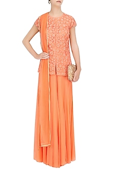 Peach Floral Resham Work Short Kurta and Sharara Pants Set by Ridhi Arora