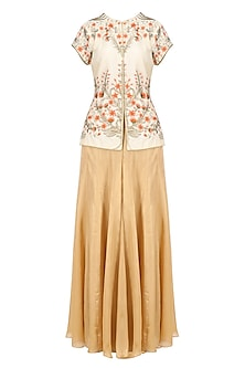 Ivory Zari and Resham Floral Work Kurta with Gold Sharara Pants by Ridhi Arora