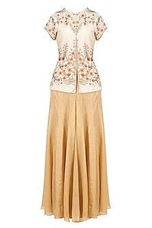Ivory Zari and Resham Floral Work Kurta with Gold Sharara Pants by Ridhi Arora