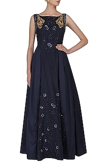 Navy Blue Floral Work and Beaded Sleeves Gown by Ridhi Arora