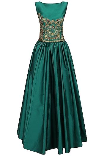 Teal Dori Work Crop Top and Skirt Set by Ridhi Arora