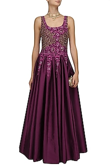 Wine Floral Embroidered Beaded Gown by Ridhi Arora