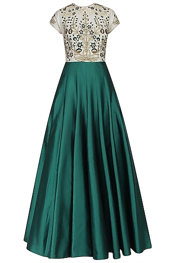 Ivory and Teal Resham Embroidered Flared Gown by Ridhi Arora