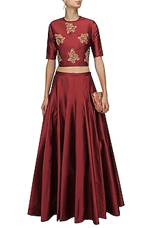 Red Floral Motifs Crop Top and Skirt Set by Ridhi Arora