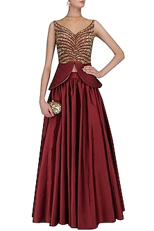 Red Sequins Embroidered Peplum Top and Skirt Set by Ridhi Arora
