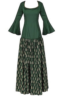 Bottle green embroidered anarkali set by Ridhi Arora