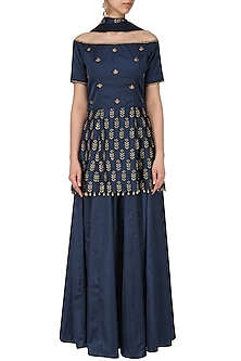 Navy blue embroidered peplum with lehenga set by Ridhi Arora