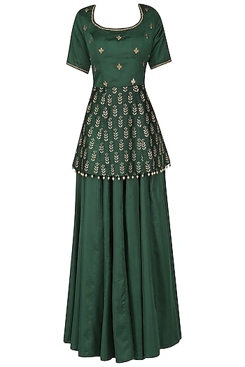 Bottle green embroidered peplum with lehenga set by Ridhi Arora
