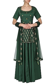 Bottle green embroidered peplum with lehenga set by Ridhi Arora