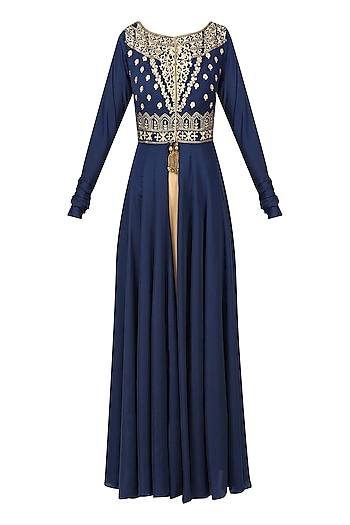 Navy Blue Floral Embroidered Jacket with Gold Straight kurta