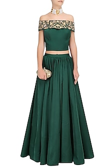 Bottle Green and Gold Floral Embroidered Crop Top and Skirt Set by Ridhi Arora