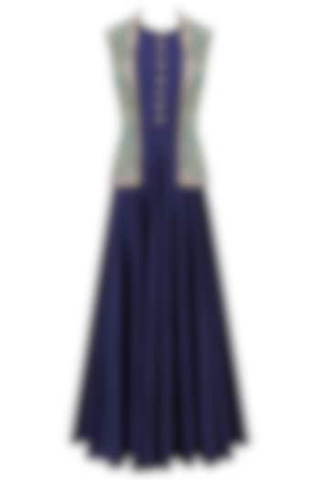 Navy Blue Flared Gown with Aqua Blue Floral Work Front Open Jacket by Ridhi Arora