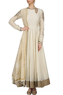 Off White and Gold Embroidered Kalidaar Anarkali Set by Radhika Airi