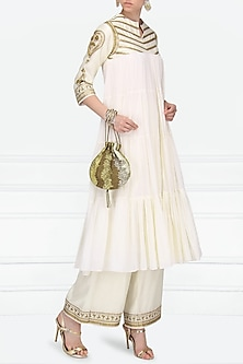Off White Embroidered Tiered Kurta with Palazzo Pants by Radhika Airi