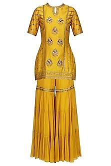 Mustard Embroidered Kurta with Gharara Pants Set by Radhika Airi