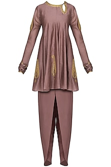 Mauve Embroidered Short Kurta with Tulip Pants by Radhika Airi