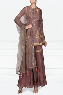 Mauve Embroidered Kurta with Gharara Pants Set by Radhika Airi