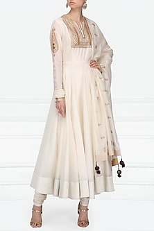 Off White Embroidered Anarkali Set by Radhika Airi