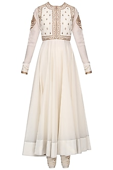 Off White Embroidered Anarkali Set with Waistcoat by Radhika Airi