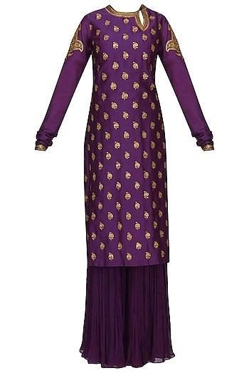 Purple Embroidered Kurta with Gharara Pants Set by Radhika Airi