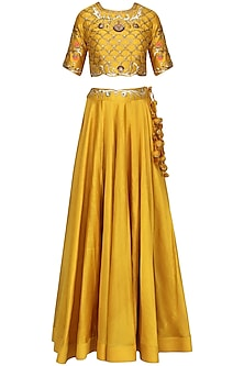 Mustard Embroidered Lehenga Set by Radhika Airi