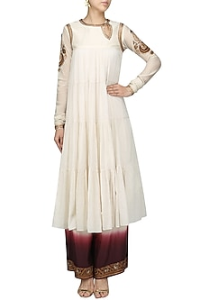 Off White Embroidered Tier Kurta with Pants Set by Radhika Airi