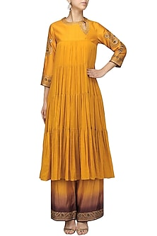 Mustard Embroidered Tier Kurta with Pants Set by Radhika Airi